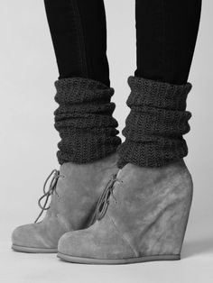 Grey laced up Wedges which I have:) . Paired with leg warmers and stockings. Perfect for the winter season.