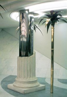 Hans Hollein - Travel Agency (Vienna) Greek Columns and Bronze palm trees in travel agency signifies cliche's associated with popular tourist destinations. Retro Interior Design, Mid-century Interior, Interior And Exterior, Modern Design, Interior Decorating, Architecture Design, Interior Columns, Column Design, Vintage Hotels
