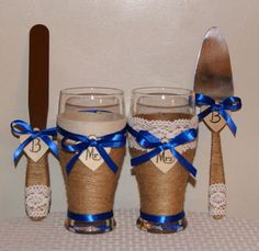 Rustic Wedding Cake Serving Set Champagne by CarolesWeddingWhimsy, This set of Rustic Wedding Toasting Glasses with Matching Serving Set and Assorted Ribbon Color are personalized.  You can find them here https://www.etsy.com/listing/248877013/rustic-wedding-cake-serving-set