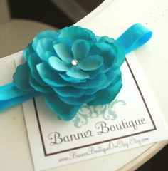 Aquamarine Turquoise Flower on Bright Teal by BannerBoutiqueOnEtsy, $11.95