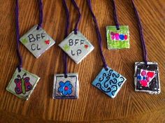A craft for the older kids: Foil pendants. fun activities for older kids