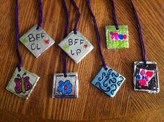 A craft for the older kids: Foil pendants. fun activities for older kids
