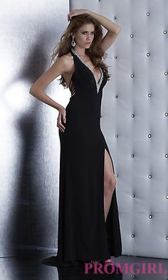 Low Cut V-Neck Halter Gown by Jasz 5437 at PromGirl.com