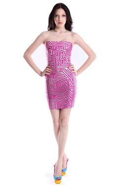 Herve Leger Bqueen Alexa Jacquard Strapless Bandage Dress