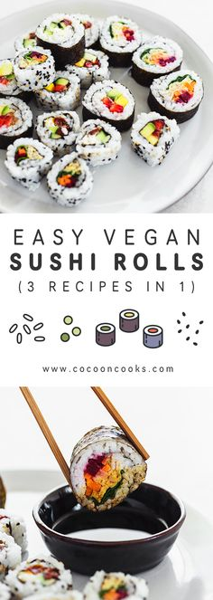 Learn how to make vegan sushi at home with these 3 simple sushi roll recipes. plant-based, very easy and quick to prepare. Learn how to make vegan sushi at home with these 3 simple sushi roll recipes. plant-based, very easy and quick to prepare. Easy Sushi Rolls, Vegan Sushi Rolls, Sushi Roll Recipes, Cooked Sushi Recipes, Easy Rolls, Shrimp Recipes, Salad Recipes, Chicken Recipes, Sushi Vegetariano