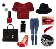 """""""red"""" by fashionxx1 ❤ liked on Polyvore featuring Parker, Christian Louboutin, Yves Saint Laurent, Maison Michel, Tacori, TheBalm, OPI and Narciso Rodriguez"""