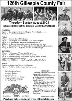 126th Gillespie County Fair Parade Aug 22 2014 .... Official opening of the 126th Gillespie County Fair with a parade down Main Street on Friday.  Over 150 entries including floats, marching bands, riding clubs, community groups and more!  Free viewing up and down Main Street.  Bring your chairs! #Texas #Parade #CountyFair  10 am.