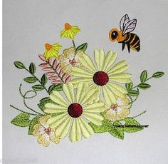 RAY OF SUNSHINE FLOWERS & BEE - 2 EMBROIDERED HAND TOWELS by Susan