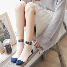 602e811c8 Women Lace Crystal Glass Silk Socks Short Thin Transparent National Style  Socks
