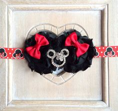 Minnie Mouse Shabby Chic Flower headband on Etsy, £6.96