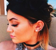 Kylie jenners piercings all the way up her ear