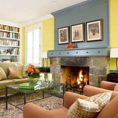 o turn an ordinary fireplace into a focal point, paint the mantel and the wall above it a color that contrasts the room?s main wall color. Base the color on another element within the room for a cohesive look. Here, the mantel?s blue hue was matched to the stone on the fireplace surround.