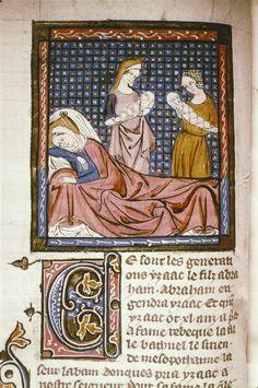 Swaddled twins - Esau and Jacob as medieval babies. Bodleian Douce 211