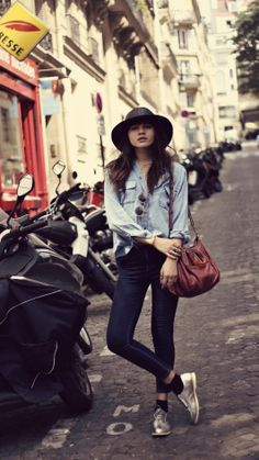 All-denim done right with skintight jeans on bottom and a soft chambray shirt on top. Top it all off with a wide brimmed hat. www.justblynk.com