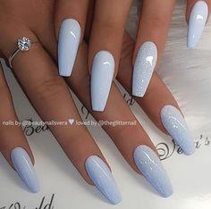 46 Unique Blue Acrylic Coffin & Stiletto Nails Designs To Ev.- 46 Unique Blue Acrylic Coffin & Stiletto Nails Designs To Evalate Your Look – - Blue Acrylic Nails, Acrylic Nail Designs, Pastel Nails, Blue Nails, Coffin Nails Kylie Jenner, Nails Now, Nagellack Trends, Trim Nails, Hot Nails