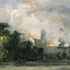 Frente al parking - Óleo sobre lienzo (81 x 81 cm.)