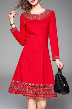 Embroidered Openwork A Line Dress