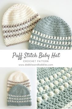 Learn how to crochet a baby hat with this puff stitch pattern. – crochet pattern Learn how to crochet a baby hat with this puff stitch pattern. – crochet pattern Pin: 735 x 1102 Easy Crochet Baby Hat, Crochet Baby Hat Patterns, Dishcloth Knitting Patterns, Crochet Baby Clothes, Baby Knitting, Knit Baby Hats, Free Knitting, Crochet Hats For Babies, Childrens Crochet Hats