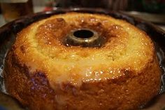 hot buttered Rum cake - This could be the one. Try this glaze instead -   1/2 cup (1 stick) melted butter 1/2 cup sugar 1/4 cup water 1/4 cup rum