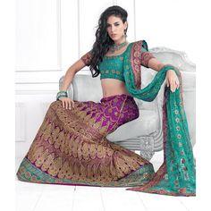 Magenta Net #Lehenga With Contrasted Teal Green Choli And Dupatta #IndianLehenga #WomenClothing #EthnicWear #WomenWear #WomenFashion
