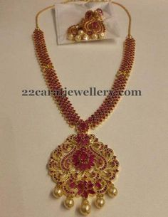 Imitation Ruby Necklace Earrings