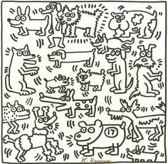Image from the Keith Haring Coloring Book | Aves en la ilustración ...