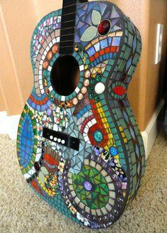 Mosaic Art #vintagemaya #mosaic #handcraft #mosaic art #mosaic guitar