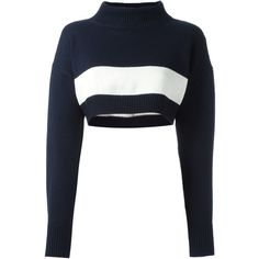 Jil Sander Navy Cropped Bandeau Turtleneck Sweater (€210) ❤ liked on Polyvore featuring tops, sweaters, crop, black, blouses, blue, blue crop top, turtle neck sweater, polo neck sweater and bandeau crop top