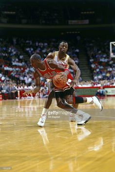 Michael Jordan #23 of the Chicago Bulls drives during the 1990 NBA game against the Houston Rockets in Houston, Texas.