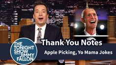 Thank You Notes: Apple Picking, Yo Mama Jokes Jimmy Fallon Youtube, Mama Jokes, Easily Offended, Tonight Show, I Love To Laugh, Thank You Notes, Lol, Entertaining, Humor