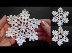 Set of 3 large crochet snowflakes, 3 crochet christmas decorations, large snowflake - Knitting Patterns Crochet Snowflake Pattern, Crochet Motifs, Crochet Stars, Crochet Snowflakes, Thread Crochet, Crochet Doilies, Crochet Flowers, Crochet Patterns, Knitting Patterns