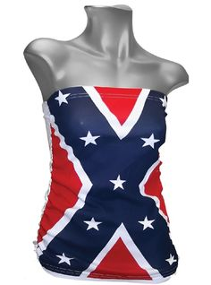REBEL FLAG TUBE TOP - LADIES CONFEDERATE SHIRT - SIZE Medium DIXIE SHIRT #Calhoun #TankCami