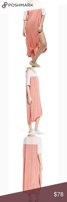 """Free People Bandwagon Long Peach & White Tunic Free People Bandwagon Elbow Sleeve Peach/White Long Tunic T-Shirt. Scoop Neck, elbow length short sleeves, dramatic side slits. Rayon/spandex blend. Brand new with tags! Sold out in stores & online!  Women's Size Small. Style OB577958. Measurements: Bust 23"""", Front Length Aprx 41"""", Back Length Aprx 48"""" Free People Tops Tunics"""