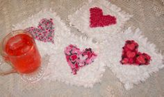 You will fall in love with these cute raggedy heart coasters.  Scraps of fabric and quilt batting is all you need to complete this adorable project.