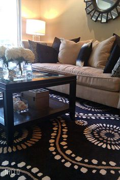 *Browns, Tans and Black color living room