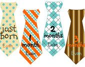 Boy Tie Baby Month Stickers Personalized (Burgundy and Gray)-Includes Newborn and Extra-Large 12 Month Stickers - Monthly Onesie Stickers