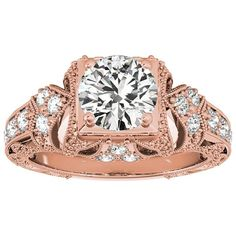 Transcendent Brilliance 14k Gold 1 1/10ct TDW White Diamond Vintage Style Engagement Ring (F-G, VS1-VS2) (Rose - Size 7.75), Women's