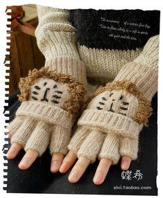 森女式冬打字半指露指翻盖两用厚弹力羊毛线针织手套可爱卡通狮子