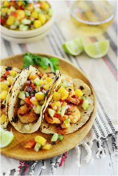 Shrimp Tacos and Pineapple Salsa. A versatile tropical salsa that goes well with any type of meat or seafood Seafood Recipes, Mexican Food Recipes, Cooking Recipes, Healthy Recipes, Mexican Dishes, Healthy Options, Healthy Eats, Grilled Shrimp Tacos, Great Recipes