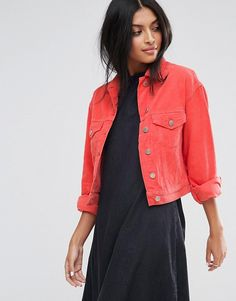 ASOS Cord Cropped Jacket in Coral