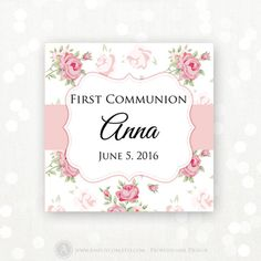 Bautizo etiqueta blue baptism favor tag spanish personalized printable editable first communion labels stickers tags square 2x2 pink shabby chic labels fandeluxe Gallery