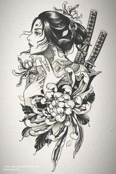 Geisha Tattoo Design, Japan Tattoo Design, Japanese Tattoo Designs, Japanese Tattoo Art, Tattoo Design Drawings, Tattoo Sleeve Designs, Tattoo Sketches, Sleeve Tattoos, Geisha Tattoo Sleeve