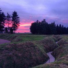 Beautiful sunset over the trenches of Newfoundland Park. #ww1 #BattlefieldPilgrimage #Somme #NewfoundlandPark #sunset #BeaumontHamel #51stDivision #JockOnARock