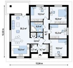 Free House Plans, Simple House Plans, Bungalow House Plans, Architecture Plan, Luxury Apartments, Home Projects, Planer, New Homes, Floor Plans