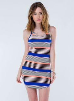 Throw on a tank dress this summer. Stripes are the perfect pattern for any backyard BBQ's! Sleeveless dresses are the way to go for warm days!