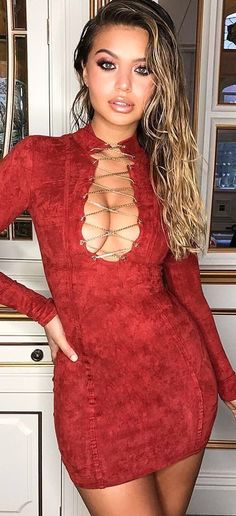#winter #outfits  red close neck caged-front long-sleeved bodycon maxi dress. Pic by @ohpolly.