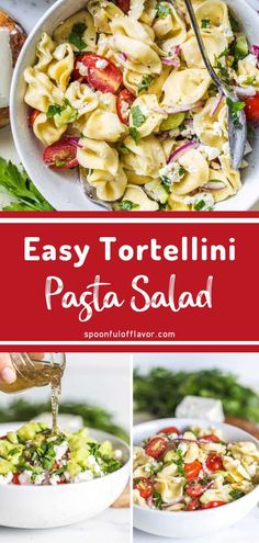 Tortellini Pasta Salad is the perfect side dish! With tomatoes, onions, cucumbers and feta, this easy pasta salad recipe is made in less than 15 minutes. Healthy Pasta Salad, Easy Pasta Salad Recipe, Vegetarian Salad Recipes, Chicken Salad Recipes, Healthy Salad Recipes, Homemade Pasta Salad, Pasta Salad With Tortellini, Tortellini Recipes, Pasta Recipes
