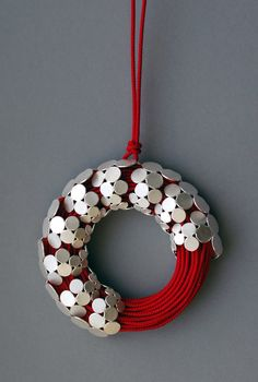 Misun Won: Red silk rope pendant iwth sterling