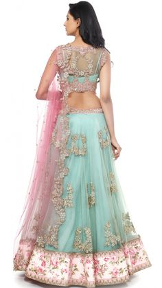 Buy Anushree Reddy's Sea Green and Pink Lengha Set Online - Jiva