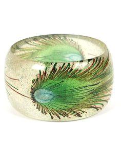 Peacock Feather Bracelet Glitter